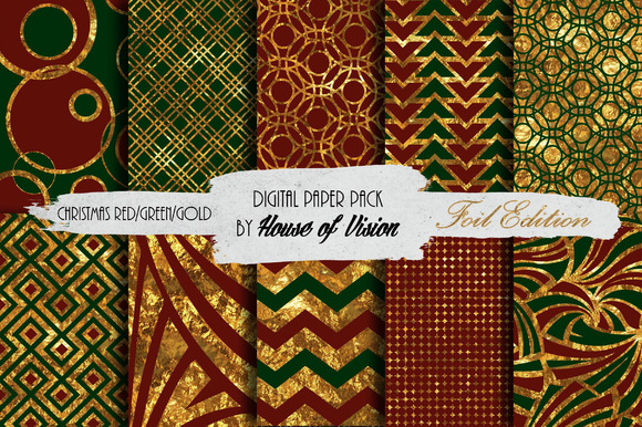 Christmas Red Green Gold Paper Pack