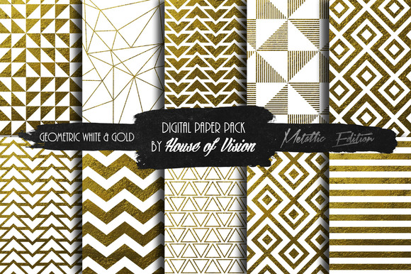 Geometric White Gold Paper Pack