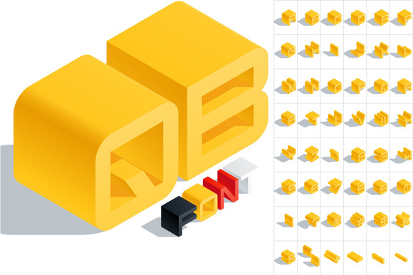 Vector 3D Isometric Yellow Letters
