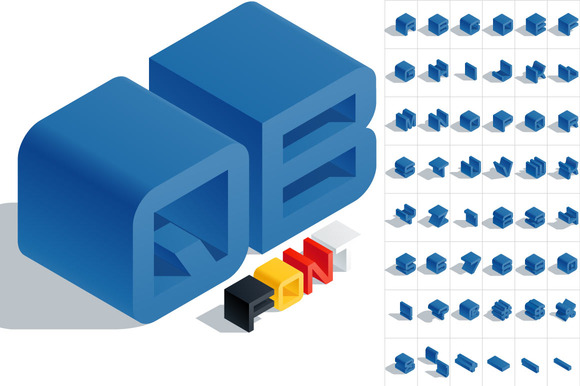 Vector 3D Isometric Blue Letters