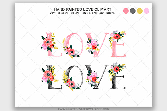 Watercolor Floral Love Clip Art