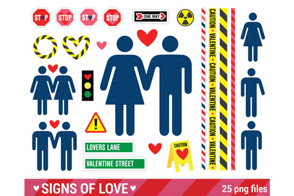 Street Sign Valentine Clipart Pack