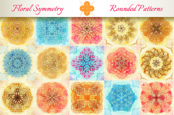 15 Floral Symmetry Patterns Set #4