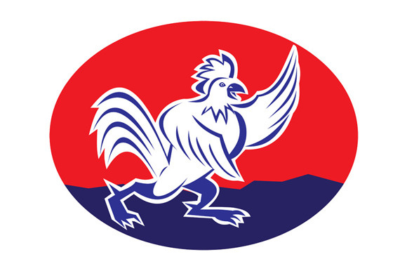 Cartoon Rooster Chicken Pointing Win