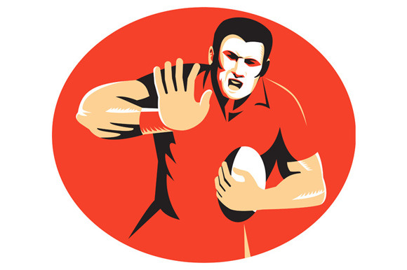 Rugby Player Fending Ball Retro