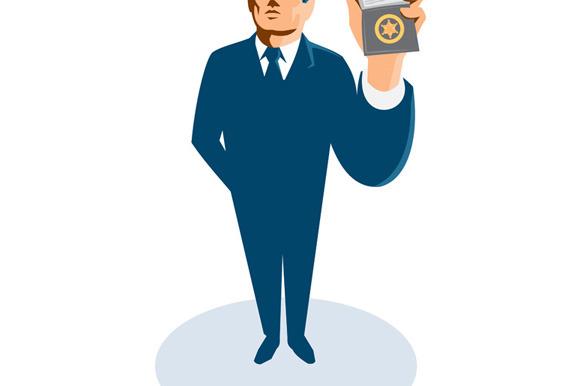 Businessman Secret Agent Showing Id