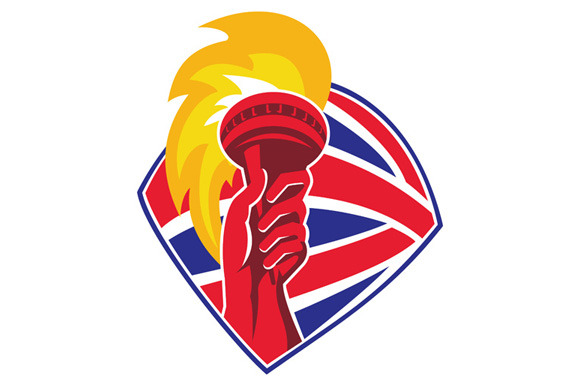 Hand Hold Flaming Torch British Flag