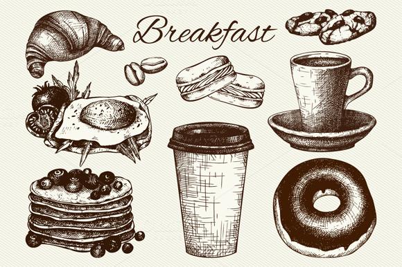 Hand Drawn Breakfast Sketch Set