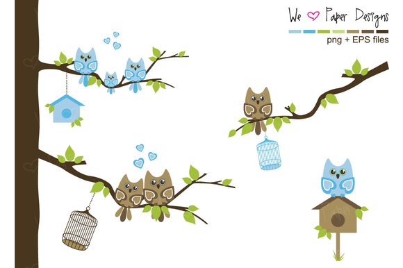 Blue And Brown Owl Family Clip Art