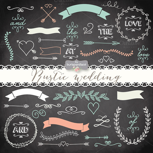 Vector Chalkboard Rustic Wedding
