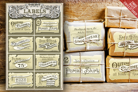 Set Of Vintage Clothing Labels