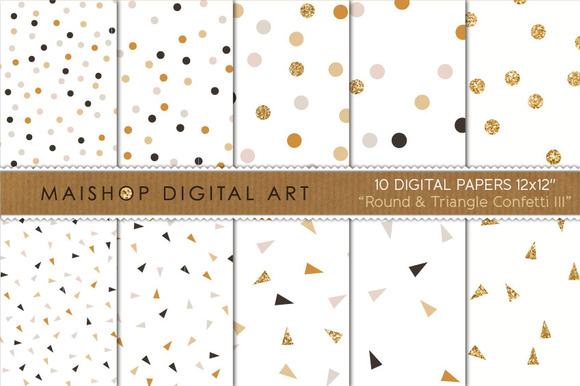Digital Paper-Round Triangle..