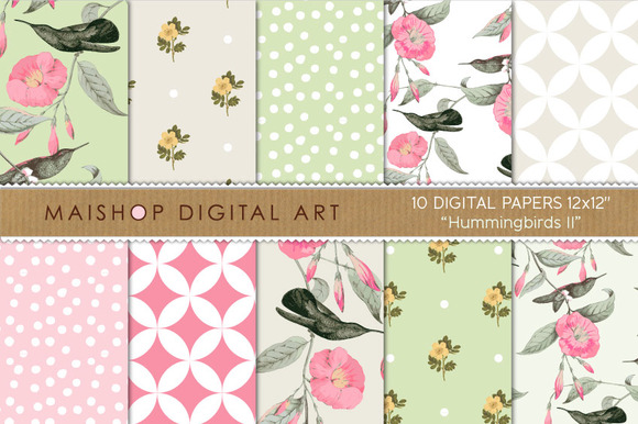 Digital Paper Hummingbirds II