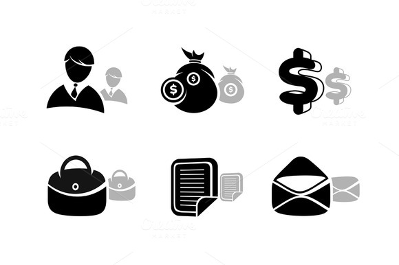 Icons Set In Black For Business