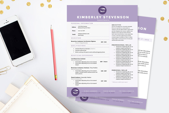 Crisp Purple Resume Template Package