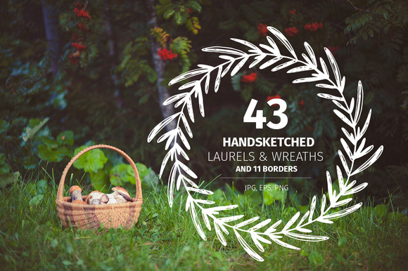 43 Handsketched Laurels Wreaths