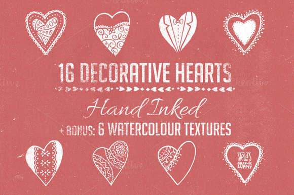 Hand Inked Decorative Hearts Bonus