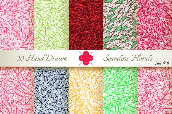 10 Ornate Seamless Florals Set #8