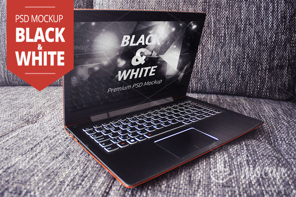 Notebook PSD Mockup Black White