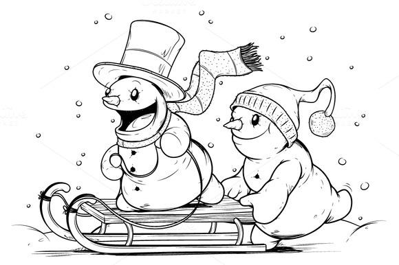 Snowmen On Sled Winter Activities