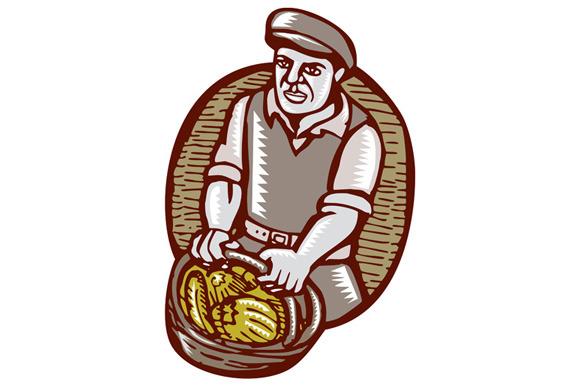 Organic Farmer Harvest Basket Woodcu
