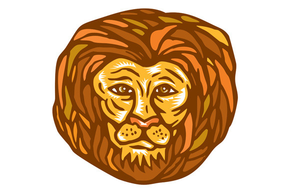Lion Head Woodcut Linocut