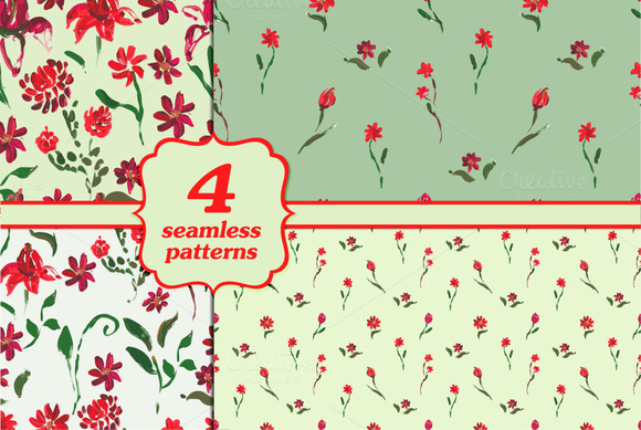 Set Of Four Seamless Floral Patterns