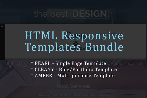 3 Responsive HTML Templates Bundle