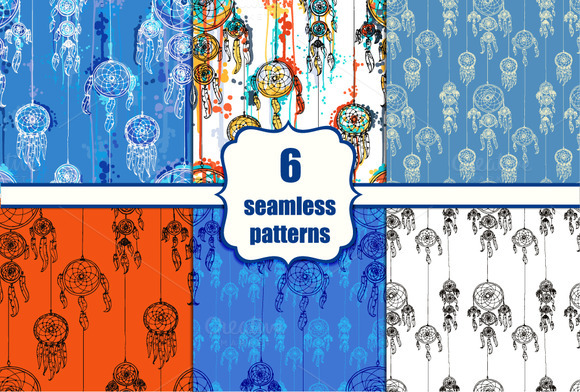 Six Hand Drawn Seamless Patterns