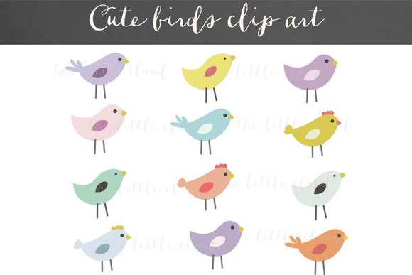 Cute Birds Clipart Vector PNG