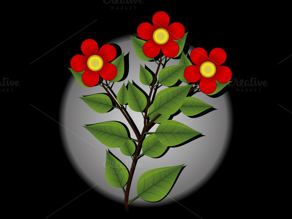 Red Flowers Vector Illustration