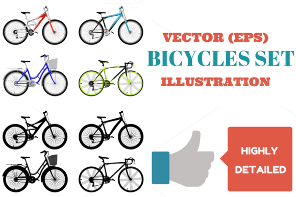 Bicycles Set Vector Illustration
