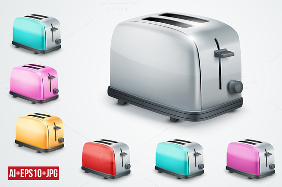 Bright Metal Toaster Set