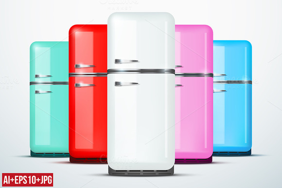 Set Of Different Styles Of Fridges