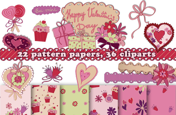 Valentines Day Pattern Cliparts