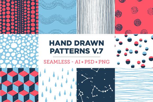 10 Seamless Hand Drawn Patterns V.7