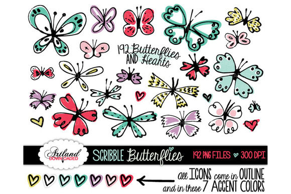 Doodle Butterfly Clipart Value Pack