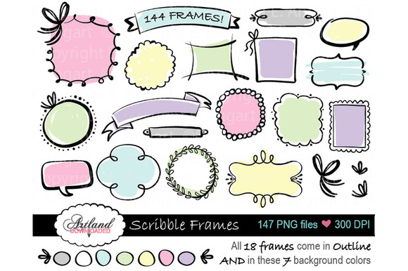 Scribble Frame Clipart Value Pack