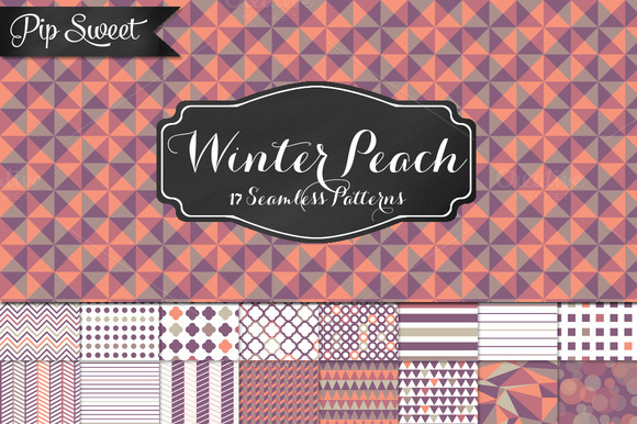 Winter Peach 17 Seamless Pattern Set
