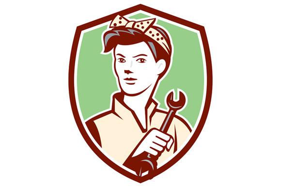 Female Mechanic Worker Holding Spann