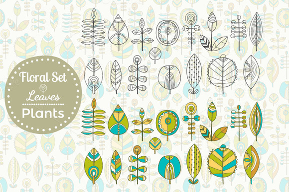 Set Of Leaves Seamless Patterns