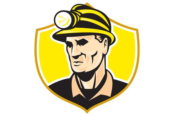 Miner With Hardhat Helmet Shield Ret