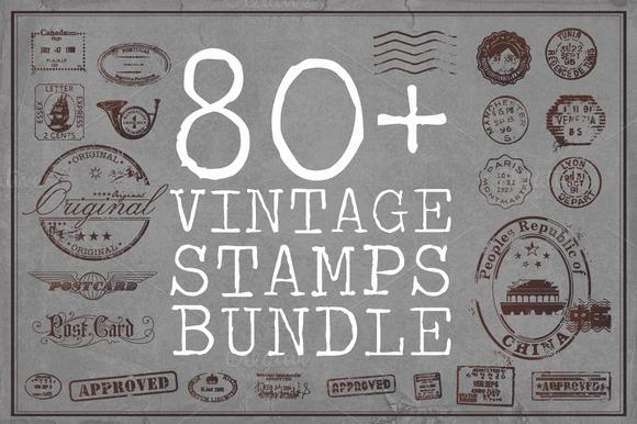 80 Vintage Stamp Bundle