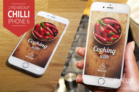 2PSD IPhone 6 Mockup Chilli