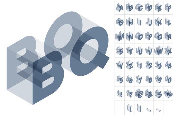 Vector Gray Isometric Alphabet