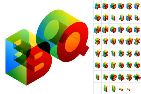 Vector Colored Isometric Alphabet
