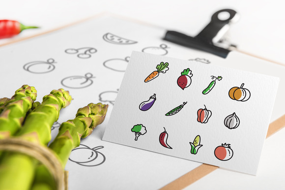 Set Of 48 Fruit Vegetable Icons