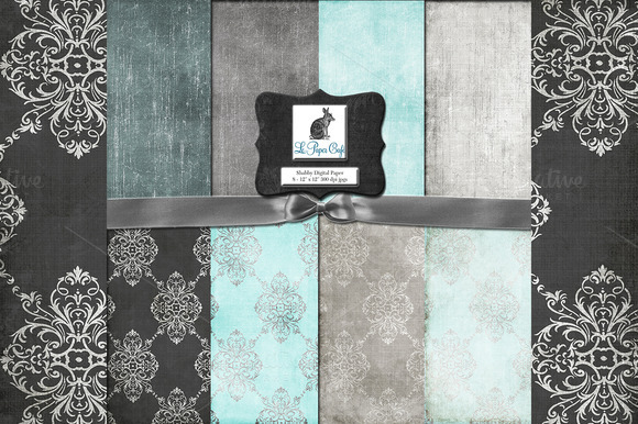 Teal Gray Damask Backgrounds