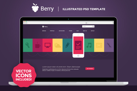 Berry Illustrated PSD Template