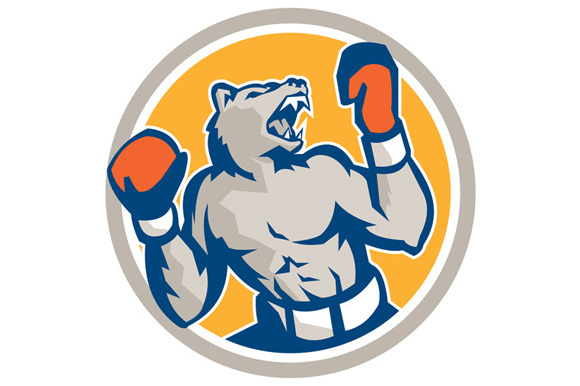 Angry Bear Boxer Gloves Circle Retro